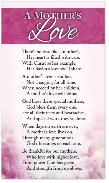 Poetry Card – A Mother's Love – Moments With The Book